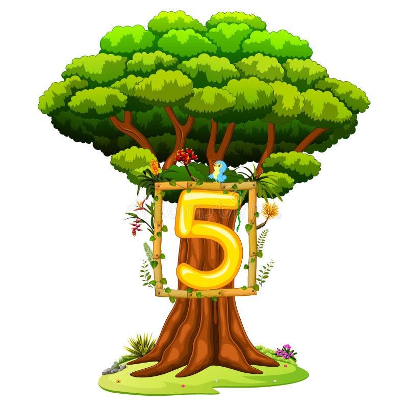 Ένα δέντρο με έναν αριθμό πέντε αριθμός για ένα άσπρο υπόβαθρο ελεύθερη απεικόνιση δικαιώματος