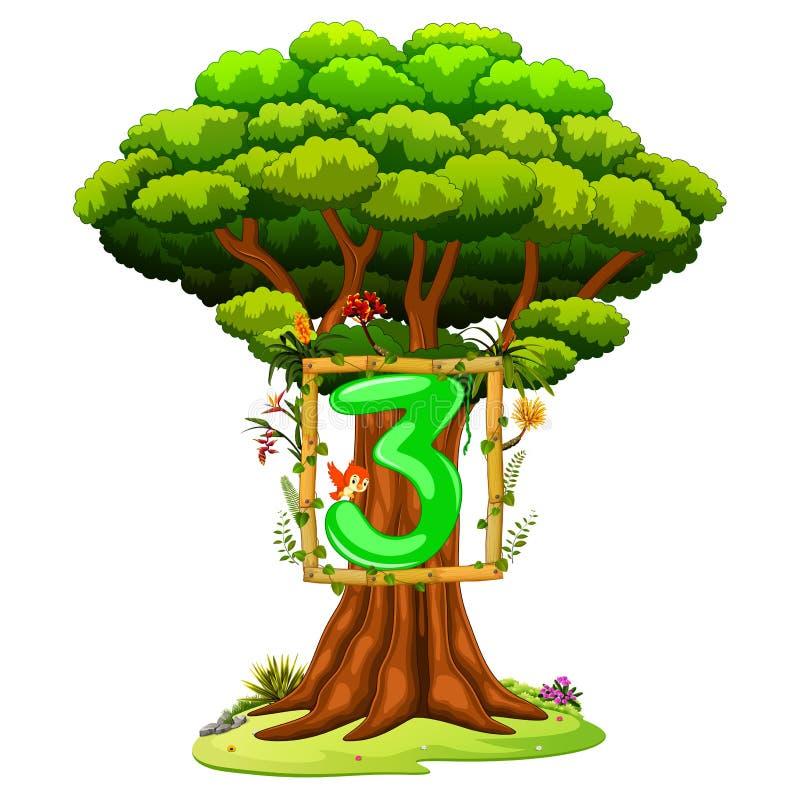 Ένα δέντρο με έναν αριθμό τρία αριθμός για ένα άσπρο υπόβαθρο διανυσματική απεικόνιση