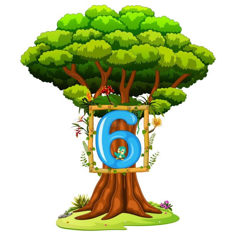 Ένα δέντρο με έναν αριθμό sixfigure σε ένα άσπρο υπόβαθρο διανυσματική απεικόνιση