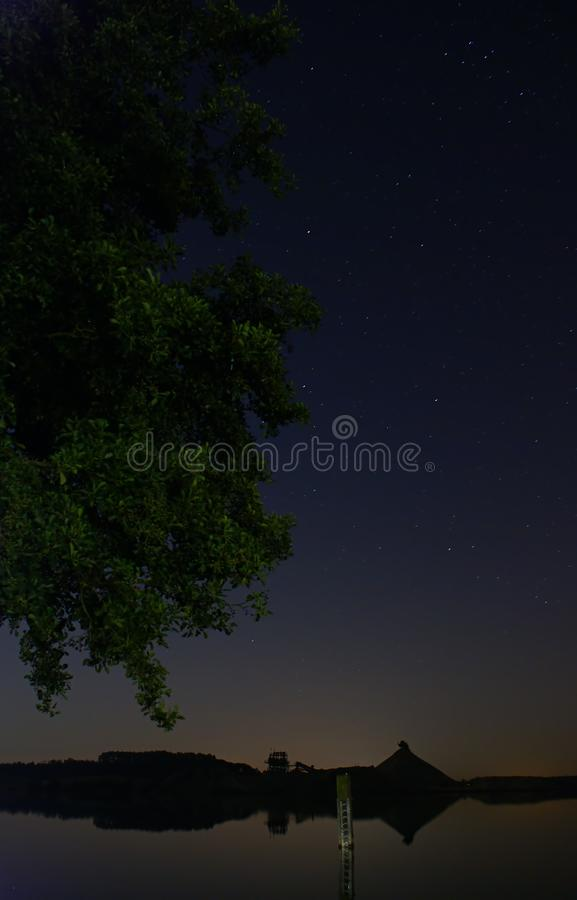 Ένα δέντρο στη λίμνη τη νύχτα στοκ εικόνες με δικαίωμα ελεύθερης χρήσης