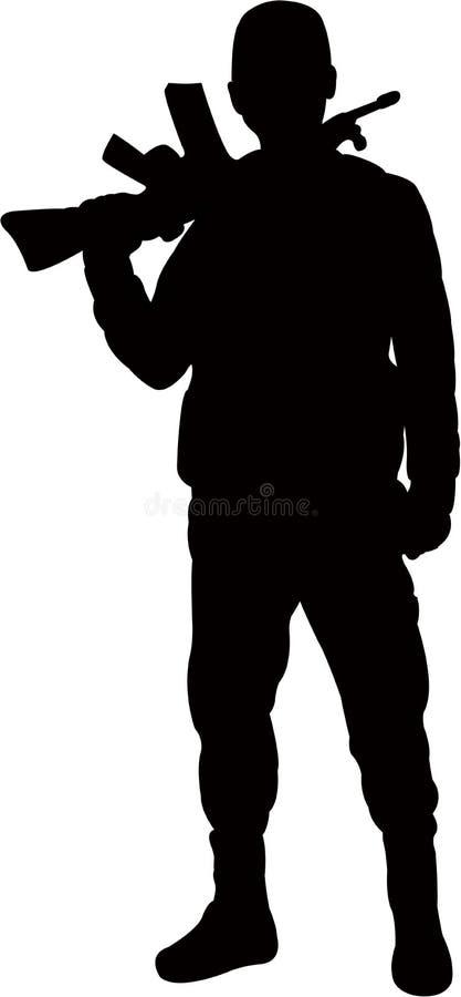 Ένα διάνυσμα σκιαγραφιών σωμάτων ατόμων στρατιωτών ελεύθερη απεικόνιση δικαιώματος