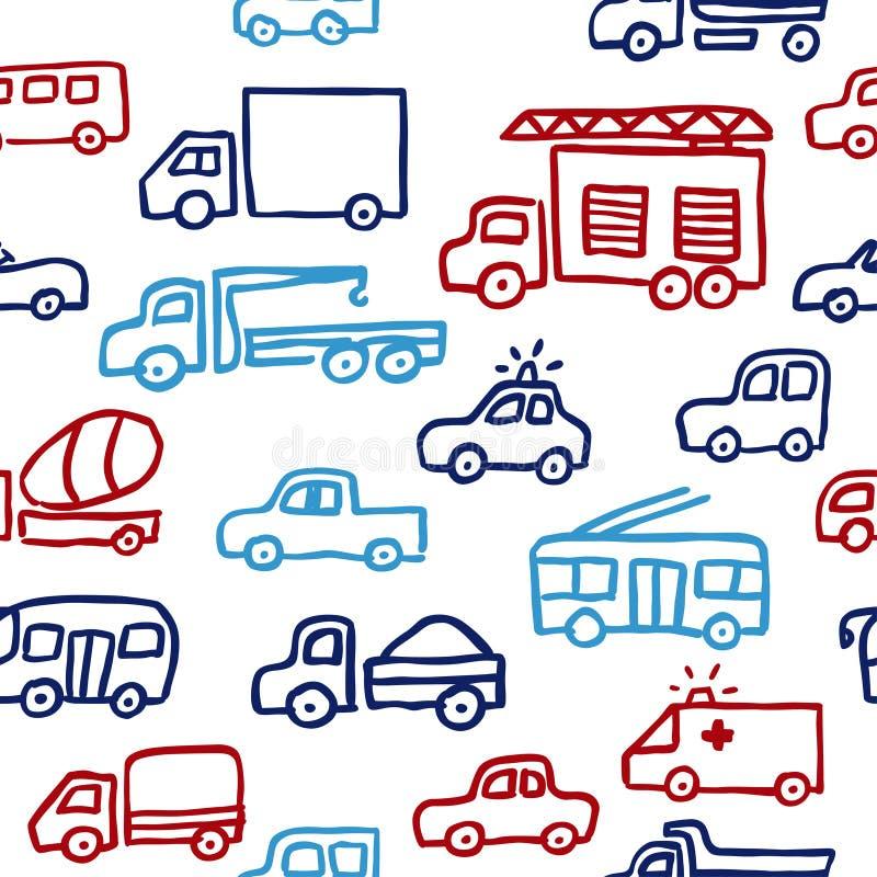 Ένα διανυσματικό άνευ ραφής σχέδιο με τις αυτόματες εικόνες περιλήψεων doodle Ένα πυροσβεστικό φορτηγό, ένα φορτηγό και άλλες μηχ απεικόνιση αποθεμάτων