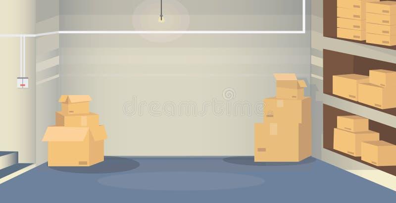 ένα δωμάτιο αποθηκών εμπορευμάτων με τα κιβώτια διανυσματική απεικόνιση