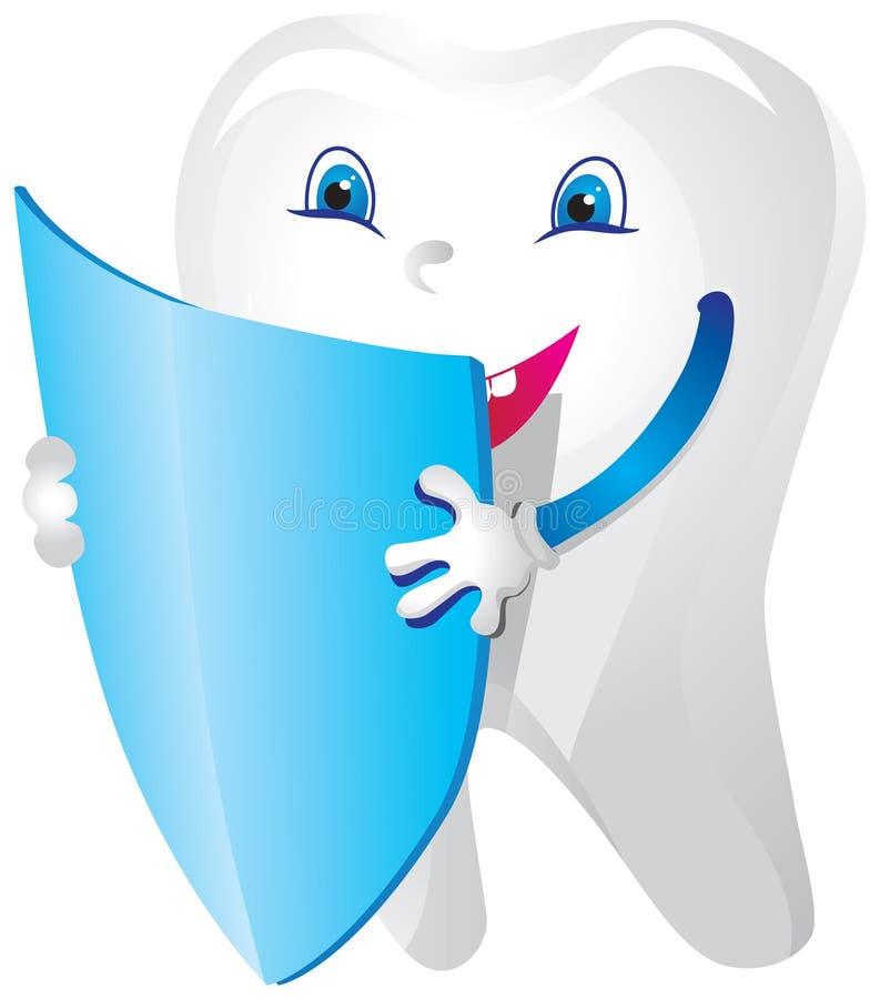 Ένα δόντι με μια ασπίδα μπροστά από το διανυσματική απεικόνιση