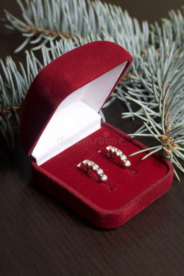 Ένα δώρο αγαπημένο Ένα ανοικτό κιβώτιο βελούδου του κόκκινου χρώματος με τα χρυσά σκουλαρίκια Σε ένα σκοτεινό υπόβαθρο με έναν κο στοκ φωτογραφία με δικαίωμα ελεύθερης χρήσης