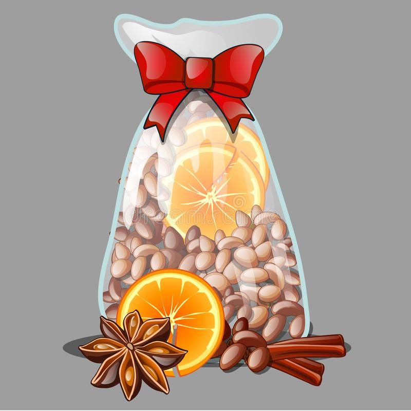 Ένα δώρο Χριστουγέννων υπό μορφή διαφανούς πλαστικής τσάντας που γεμίζουν με τα όλος-φυσικά καρυκεύματα, που απομονώνονται στο γκ ελεύθερη απεικόνιση δικαιώματος