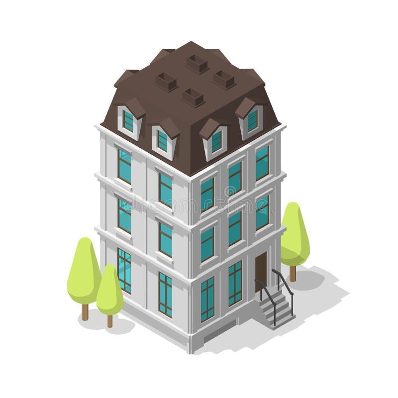 Ένα ενιαίο κοινό κτήριο Κατοικημένο κατοικία-σπίτι Διώροφο μέγαρο Κλασική αρχιτεκτονική ύφους Διάνυσμα Isometric απεικόνιση αποθεμάτων