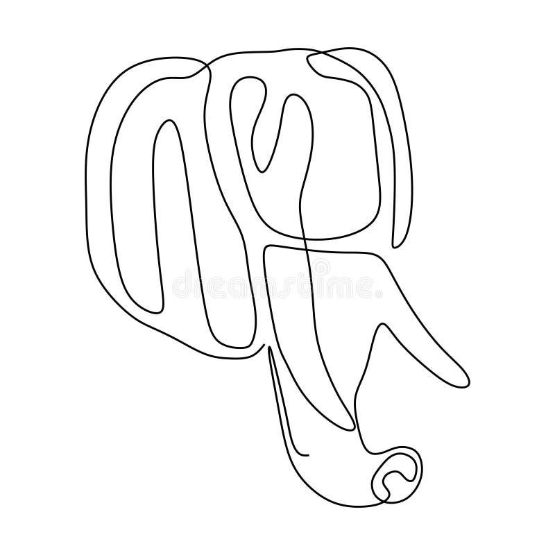 Ένα ενιαίο σχέδιο γραμμών της μεγάλης χαριτωμένης ταυτότητας λογότυπων ελεφάντων επικεφαλής εταιρικής διανυσματική απεικόνιση