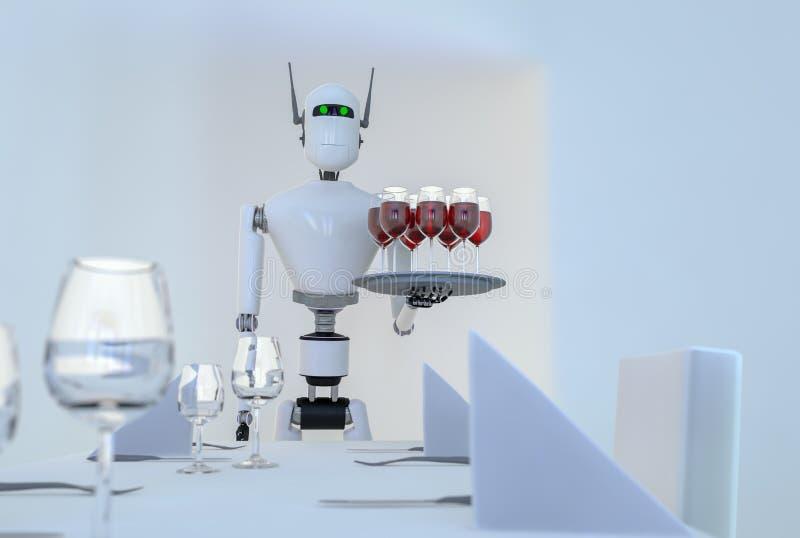 Ένα εξυπηρετώντας κρασί ρομπότ υπηρεσιών ελεύθερη απεικόνιση δικαιώματος