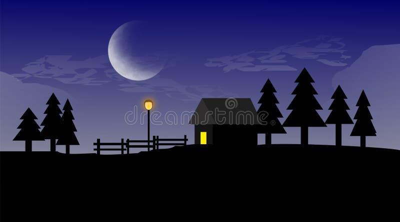 Ένα επίπεδο σπίτι τοπίων στη νύχτα στοκ φωτογραφία