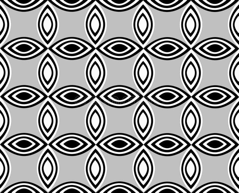 Ένα επαναλαμβανόμενο floral σχέδιο που αποτελείται από εναλλασσόμενα άσπρα και μαύρα δειγμένα ovals διανυσματική απεικόνιση