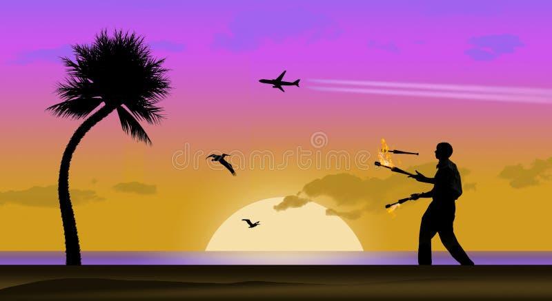 Ένα επιβατηγό αεροσκάφος με το contrail βλέπει στον ουρανό που ταξιδεύει σε μια τροπική παραλία, τους πελεκάνους, το ηλιοβασίλεμα διανυσματική απεικόνιση