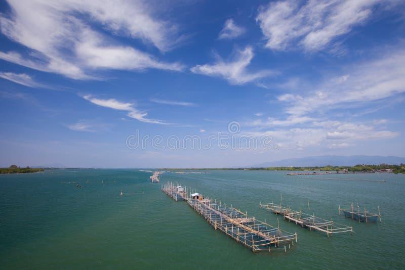 Ένα επιπλέον αγρόκτημα ψαριών στη θάλασσα κάτω από το σαφή ουρανό στοκ φωτογραφία με δικαίωμα ελεύθερης χρήσης