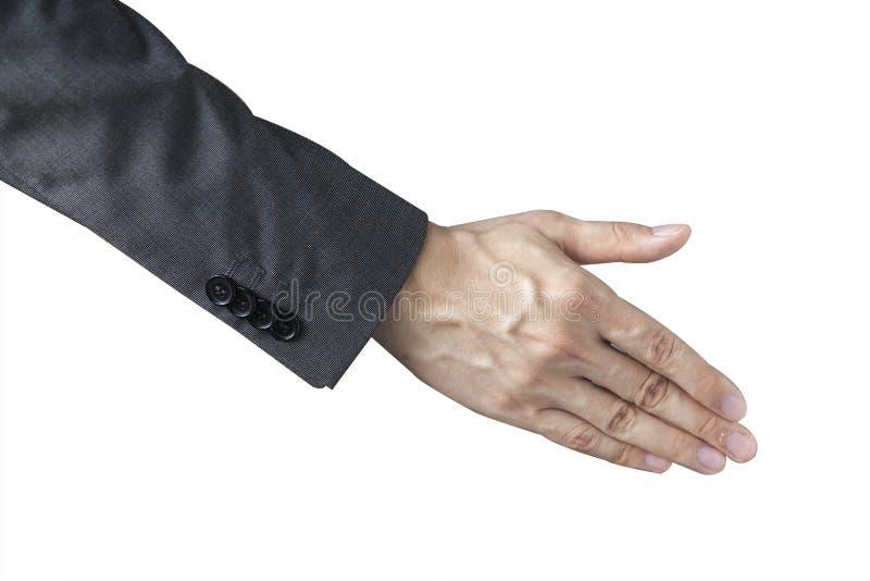Ένα επιχειρησιακό άτομο με ένα ανοικτό χέρι έτοιμο να τινάξει παραδίδει το απομονωμένο υπόβαθρο στοκ εικόνες με δικαίωμα ελεύθερης χρήσης