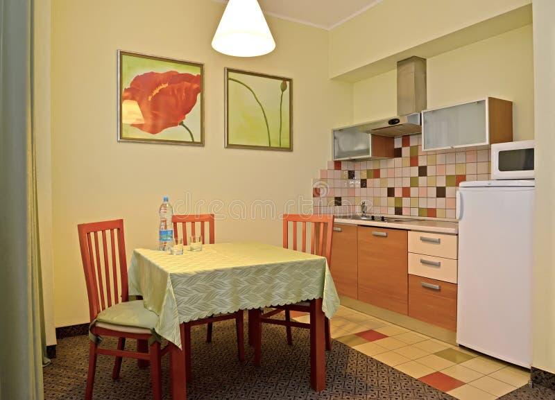 Ένα εσωτερικό της κουζίνας στους πράσινους τόνους στοκ εικόνες με δικαίωμα ελεύθερης χρήσης