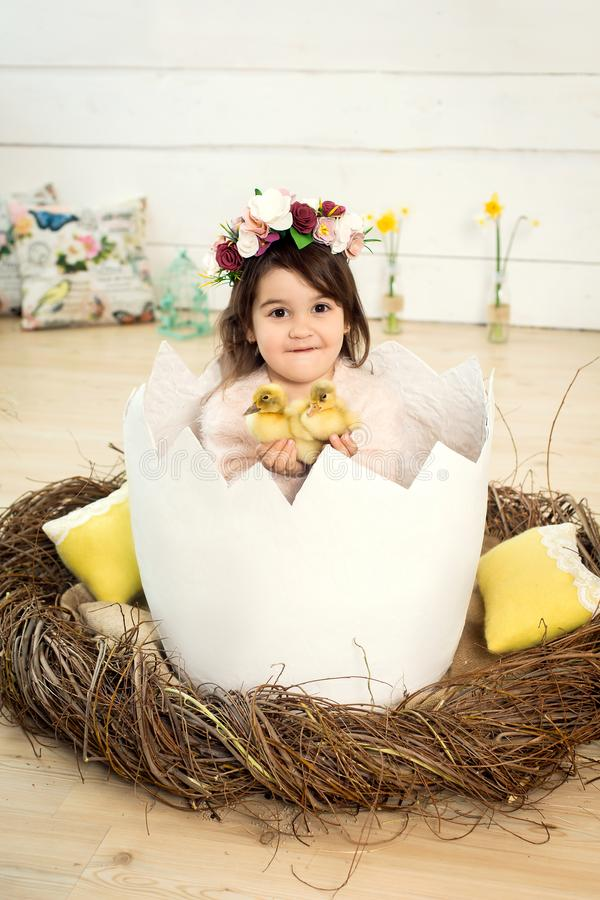 Ένα ευτυχές μικρό κορίτσι με τα λουλούδια στο κεφάλι της κάθεται σε ένα διακοσμητικό αυγό με τους χαριτωμένους χνουδωτούς νεοσσού στοκ εικόνες με δικαίωμα ελεύθερης χρήσης