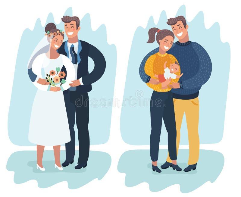 Ένα ευτυχές παντρεμένο ζευγάρι με ένα νεογέννητο μωρό ελεύθερη απεικόνιση δικαιώματος