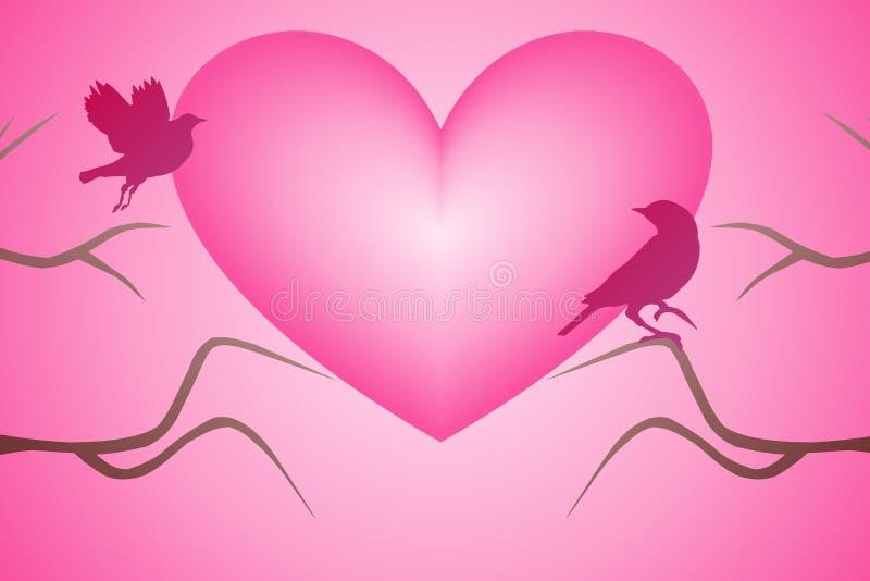 Ένα ζευγάρι της αγάπης των πουλιών ελεύθερη απεικόνιση δικαιώματος