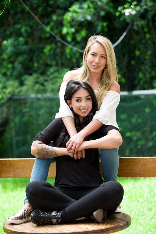Ένα ζευγάρι της υπερήφανης λεσβίας υπαίθρια να καθίσει σε έναν ξύλινο πίνακα, ξανθή γυναίκα αγκαλιάζει μια γυναίκα brunette, σε έ στοκ εικόνες