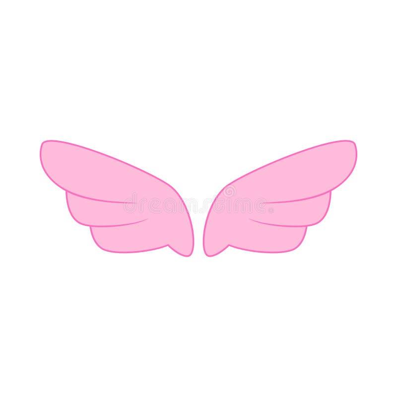 Ένα ζευγάρι του ρόδινου εικονιδίου φτερών, απλό ύφος ελεύθερη απεικόνιση δικαιώματος