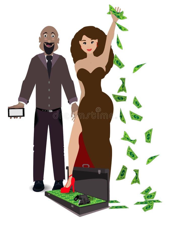 Ένα ζευγάρι των εραστών σε ένα λευκό με μια περίπτωση των χρημάτων διανυσματική απεικόνιση