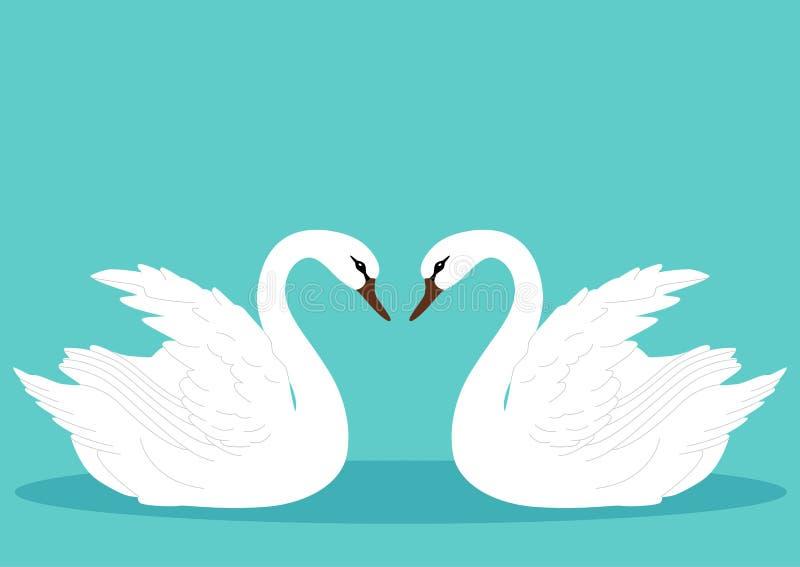 Ένα ζευγάρι των κύκνων Κύκνος ελεύθερη απεικόνιση δικαιώματος