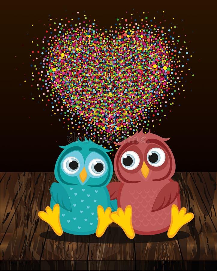 Ένα ζευγάρι των χαριτωμένων κουκουβαγιών ερωτευμένων Διάνυσμα στο ξύλινο υπόβαθρο Colorf απεικόνιση αποθεμάτων