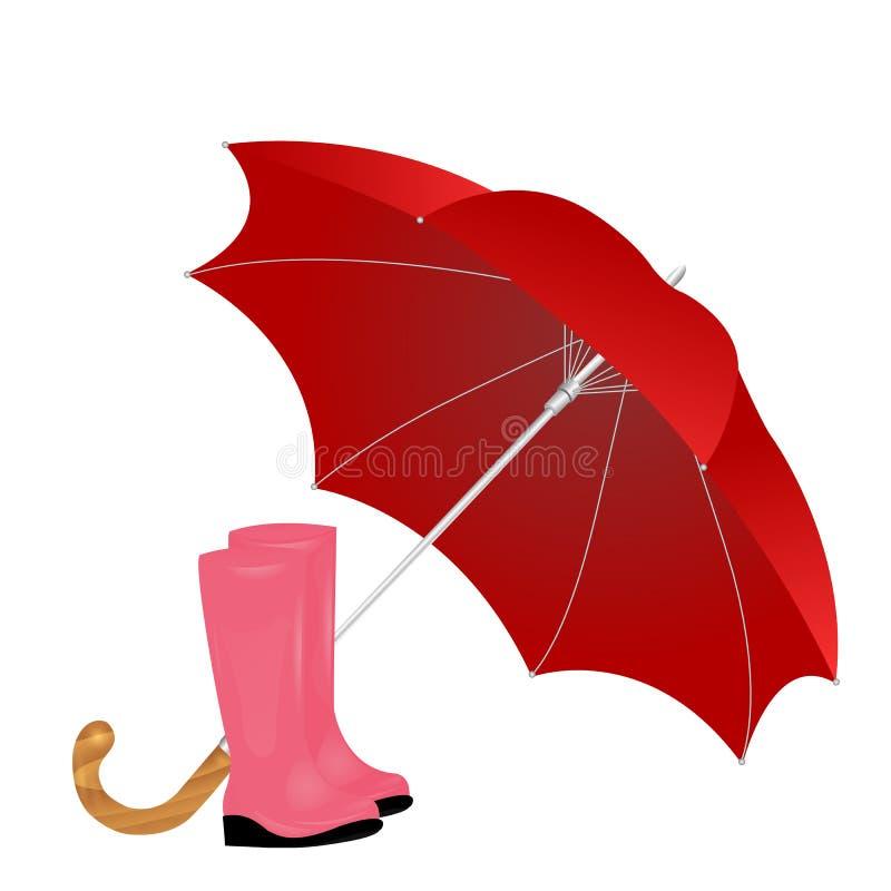 Ένα ζευγάρι των rainboots και μιας ομπρέλας σε ένα άσπρο υπόβαθρο διανυσματική απεικόνιση