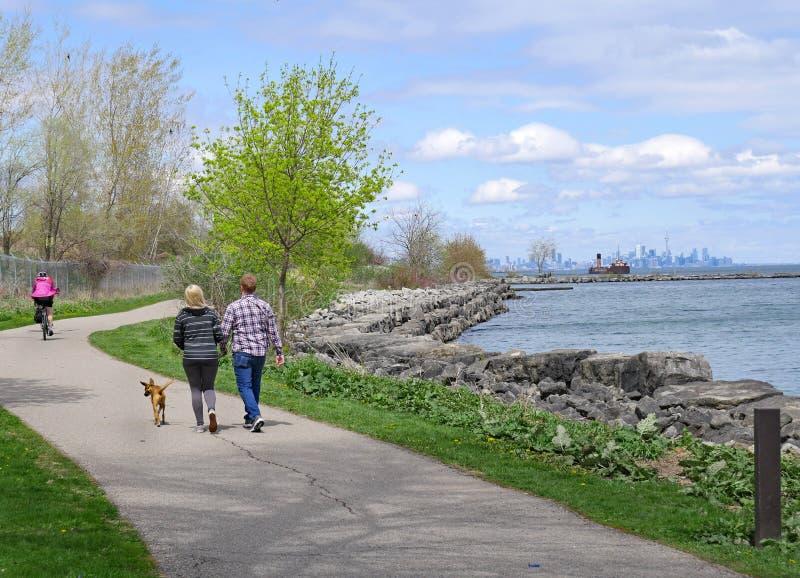 Ένα ζεύγος περπατά ένα σκυλί όπως ένας ποδηλάτης οδηγά κοντά στο ίχνος προκυμαιών του Τορόντου στοκ φωτογραφίες με δικαίωμα ελεύθερης χρήσης
