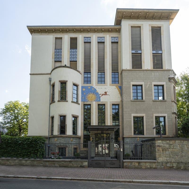 Ένα ηλιακό ρολόι σε ένα σπίτι στη Φρανκφούρτη στοκ φωτογραφίες με δικαίωμα ελεύθερης χρήσης