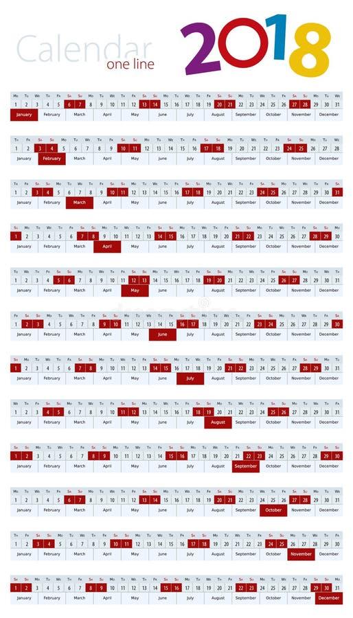 Ένα ημερολόγιο γραμμών για το έτος του 2018 ελεύθερη απεικόνιση δικαιώματος
