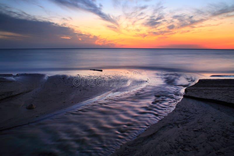 Ηλιοβασίλεμα του Erie λιμνών στοκ φωτογραφίες