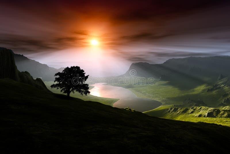Ένα ηλιοβασίλεμα πέρα από μια κοιλάδα με μια σκιαγραφία δέντρων απεικόνιση αποθεμάτων