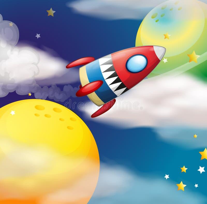 Ένα διαστημόπλοιο κοντά στους πλανήτες ελεύθερη απεικόνιση δικαιώματος