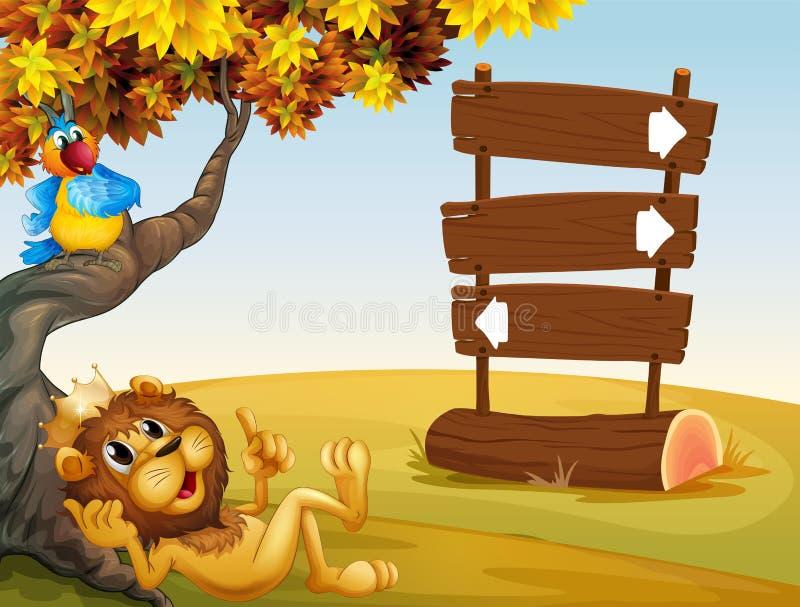 Ένα λιοντάρι, ένα πουλί και μια ειδοποίηση επιβιβάζονται διανυσματική απεικόνιση