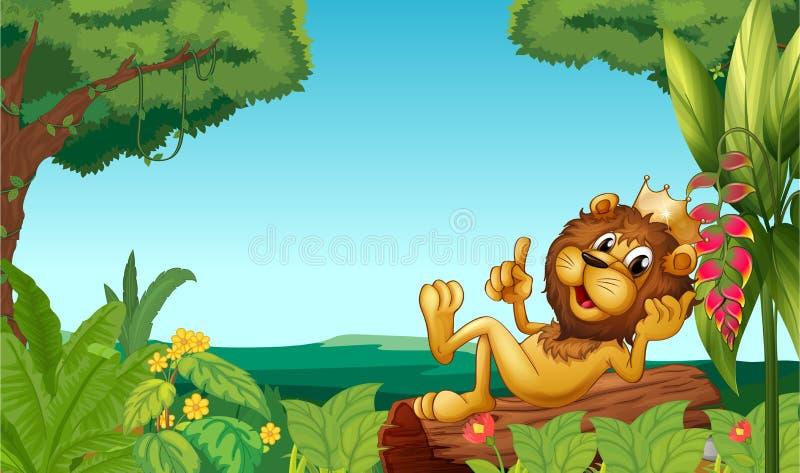 Ένα λιοντάρι βασιλιάδων στο δάσος ελεύθερη απεικόνιση δικαιώματος
