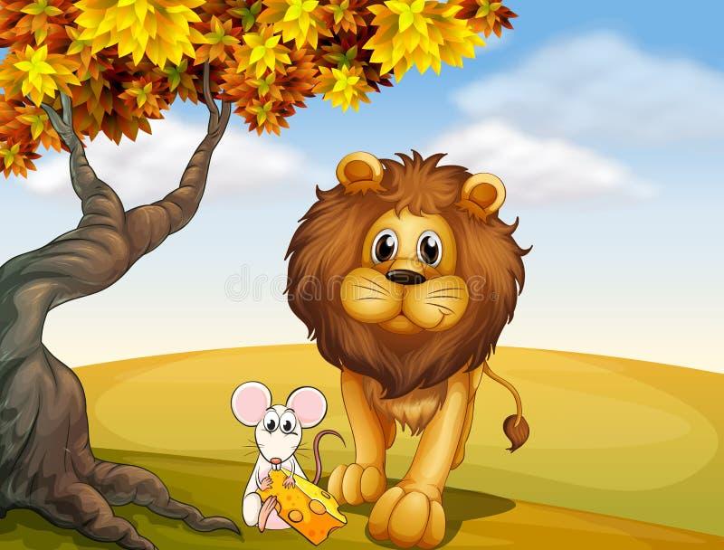 Ένα λιοντάρι και ένα ποντίκι διανυσματική απεικόνιση