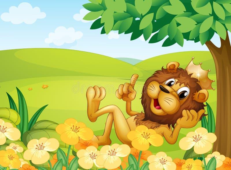 Ένα λιοντάρι με μια κορώνα κοντά σε ένα δέντρο στο λόφο διανυσματική απεικόνιση