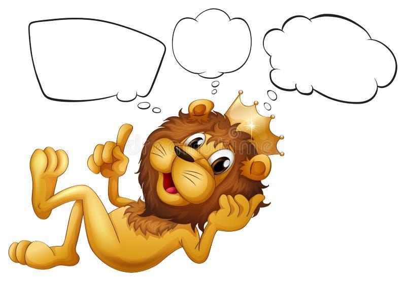 Ένα λιοντάρι με μια σκέψη κορωνών ελεύθερη απεικόνιση δικαιώματος