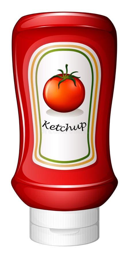 Ένα κέτσαπ μέσα στο κόκκινο μπουκάλι διανυσματική απεικόνιση
