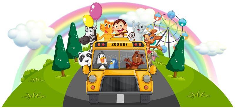 Ένα κίτρινο λεωφορείο ζωολογικών κήπων στο δρόμο απεικόνιση αποθεμάτων
