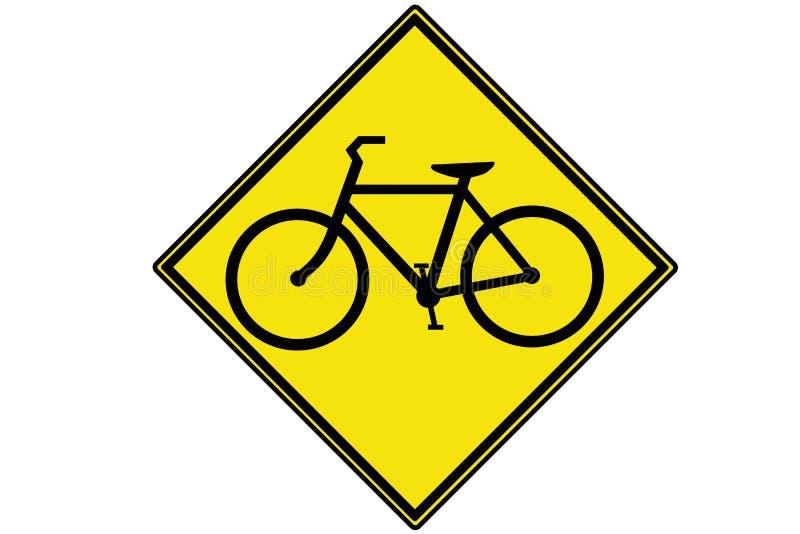 Ένα κίτρινο προειδοποιητικό σημάδι κυκλοφορίας ποδηλάτων ελεύθερη απεικόνιση δικαιώματος