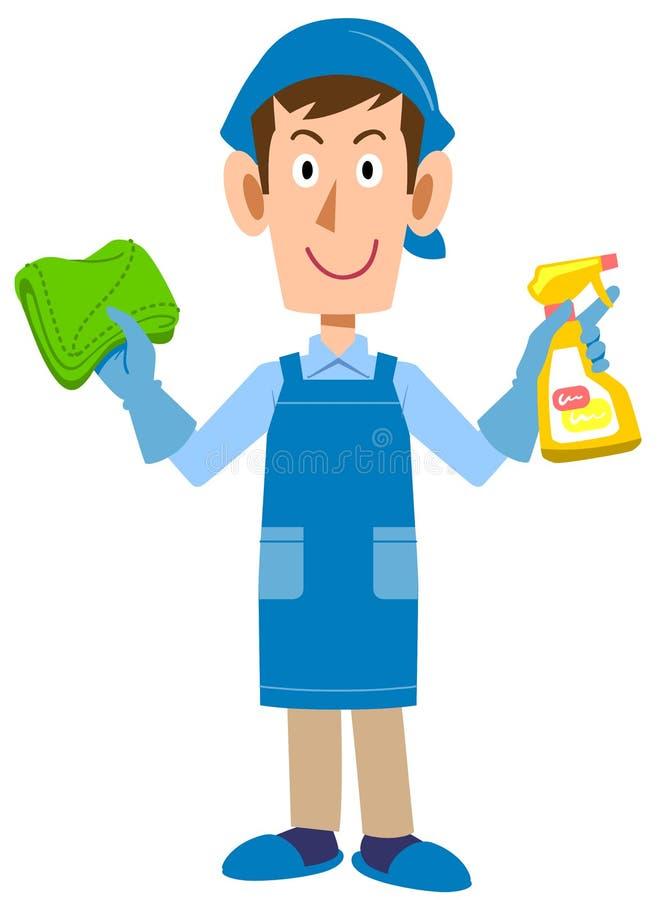 Ένα καθαρίζοντας άτομο, υπηρεσία αντιπροσωπειών οικοκυρικής διανυσματική απεικόνιση