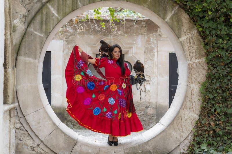 Ένα καλό ισπανικό πρότυπο Brunette θέτει υπαίθρια με ένα γεράκι σε ένα Hacienda στοκ εικόνες