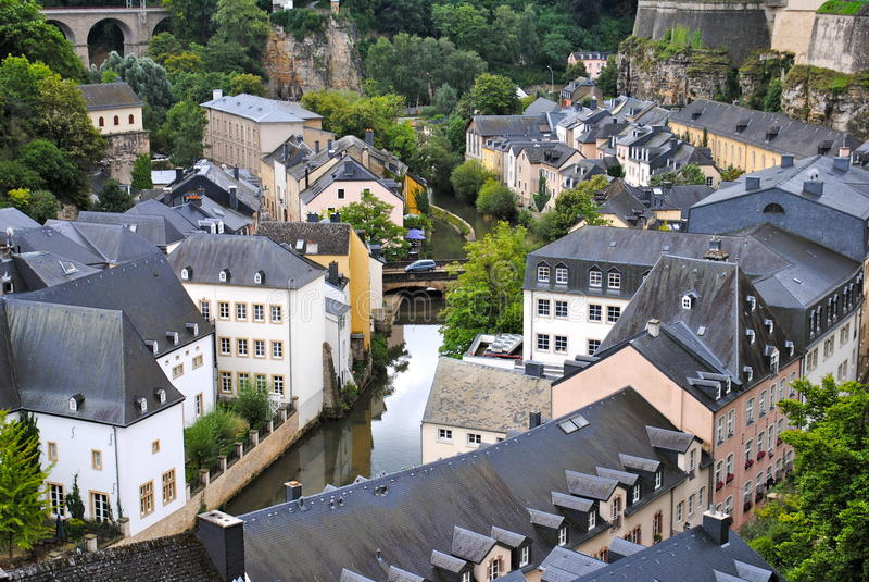 Ένα κανάλι στο Λουξεμβούργο στοκ εικόνα με δικαίωμα ελεύθερης χρήσης