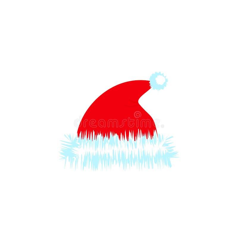 Ένα καπέλο Χριστουγέννων της ημέρας διακοπών εικονιδίων χρώματος διανυσματική απεικόνιση