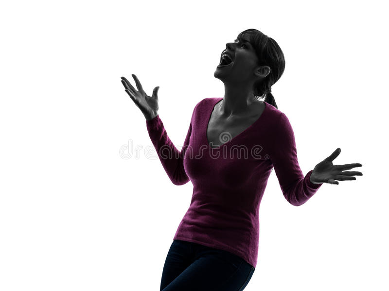 Η γυναίκα εξέπληξε το ευτυχές κοίταγμα επάνω στη σκιαγραφία πορτρέτου στοκ εικόνες με δικαίωμα ελεύθερης χρήσης