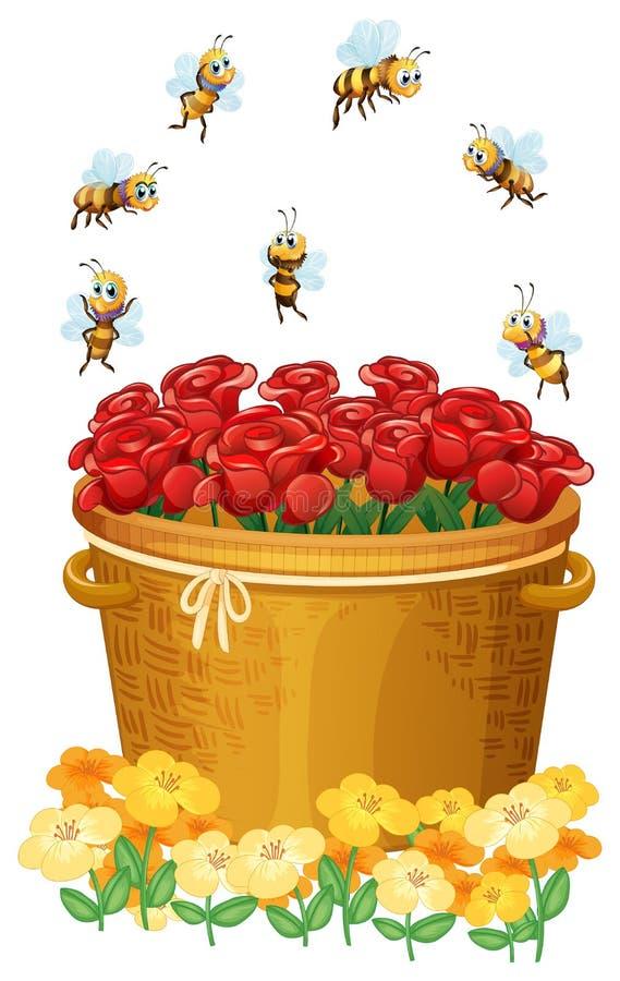 Ένα καλάθι των κόκκινων τριαντάφυλλων με τις μέλισσες διανυσματική απεικόνιση