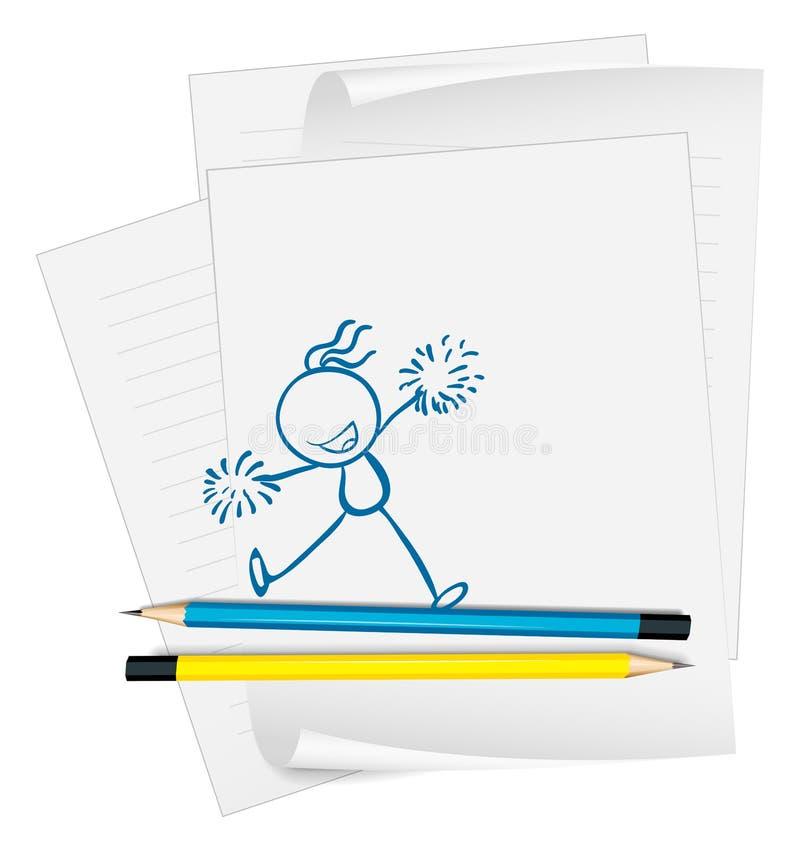 Ένα κενό έγγραφο με ένα σκίτσο ενός cheerdancer διανυσματική απεικόνιση