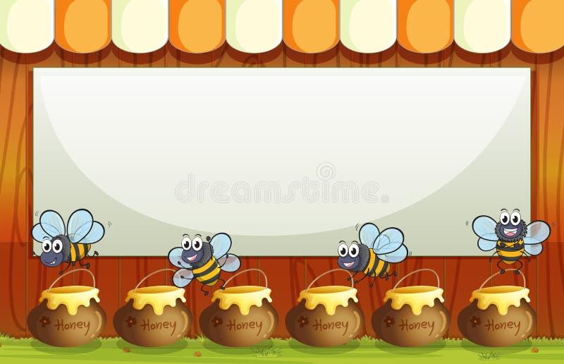 Ένα κενό πρότυπο με τα δοχεία και τις μέλισσες στο κατώτατο σημείο διανυσματική απεικόνιση
